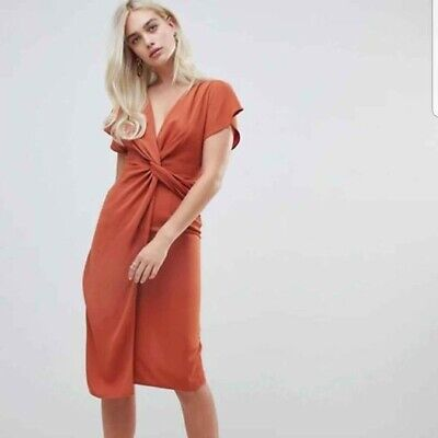AU22 • Buy ASOS Twist Front Midi Dress Size 12