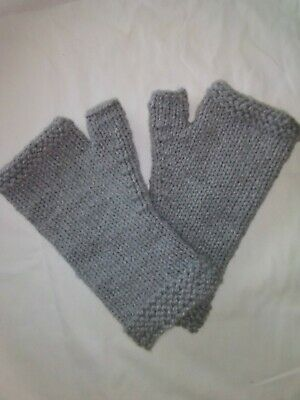 $9 • Buy Mens Fingerless Winter Gloves.Hand Knit.fits Up To A X-large.New