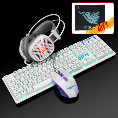 AU62.24 • Buy Computer Gaming Keyboard And Mouse Set + Headset Wired Mechanical Led Backlit