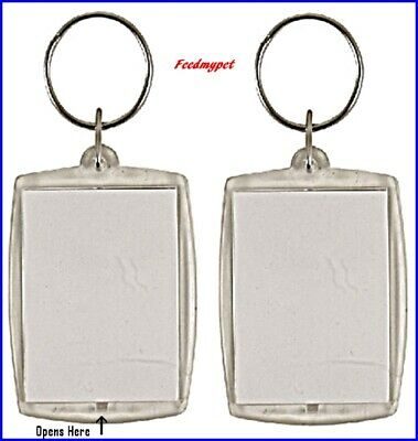 2X Clear Blank Acrylic Plastic Double Sided Photo Holder Personalised Keyring's • 0.99£