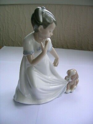 Nao Figurine - 1434 - Girl With Puppy Pulling Her Skirt - 2002 - Nice Item. • 10.50£