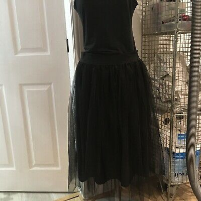 Tulle Net Midi Skirt NEW LOOK Black BALLERINA Tutu SIZE 18 Will Fit Smaller Size • 14.99£