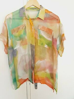 AU39.95 • Buy Scanlan & Theodore Blouse Shirt Silk Size 12 L Collared Pockets