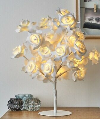 New Beautiful White Rose Bouquet 32 LED's Tree Table Lamp Bedside & Party Light • 29.50£