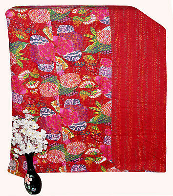 Indian Red Floral King Bed Cover Blanket Kantha Quilt Throw Ethnic Decorative • 39.99£