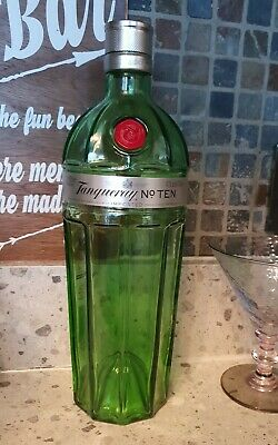 Tanqueray No 10 Gin, Empty Rare 1l Bottle With Top. Empty Green Glass Gin Bottle • 6£