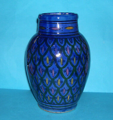 £80 • Buy Vintage Moroccan Safi Art Pottery - Attractive Large Highly Decorative Blue Vase