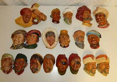 £18.99 • Buy Collection Of 19 Mainly Bossons Character Heads Wall Masks Plaques