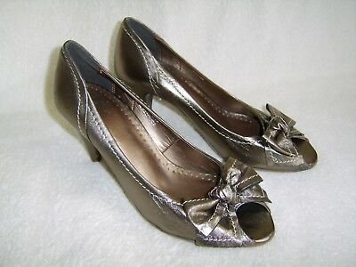 Per Una Pewter Leather Peep Toe Court Shoes Size 5.5 • 15.50£