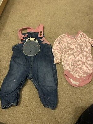 Baby Girls NEXT Denim Colour Pink Dungarees Age 6-9 Months • 2£