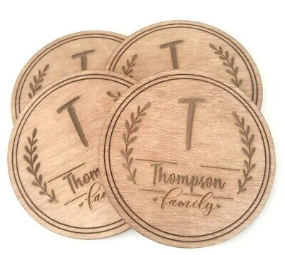 £7.99 • Buy Set Of 4 Personalised Wooden Coasters Custom Family Name Laser Engraved Tea Mats