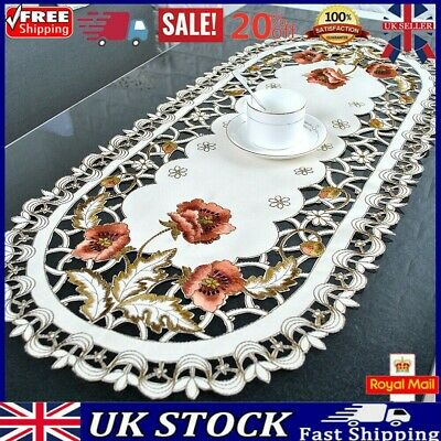 Vintage Embroidered Lace Tablecloth Dining Table Runner Cover Wedding Home Decor • 8.44£