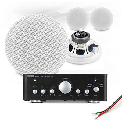 £185 • Buy 4x 6  Ceiling Speaker System With Bluetooth Amplifier Home Audio Hi-Fi Music