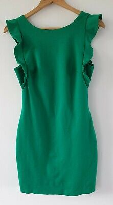 AU20 • Buy Forever New Green Bodycon Dress Frill Sleeve Thick Fabric Lined Sz 10 EUC