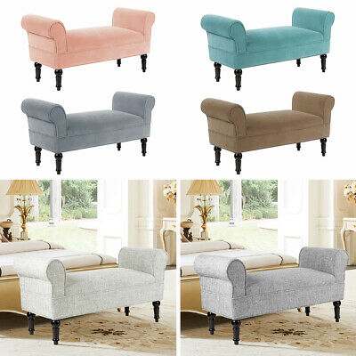Upholstered Chaise Longue Bed End Stools Window Bench Seat Bedroom Pouffe Chairs • 109.95£