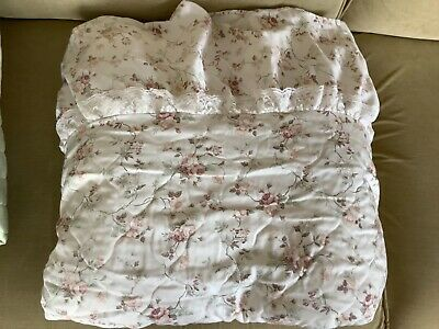 Vintage Double Bedspread Cream Beige Floral Light Quilted Lace Trim Frilled Edge • 14.99£