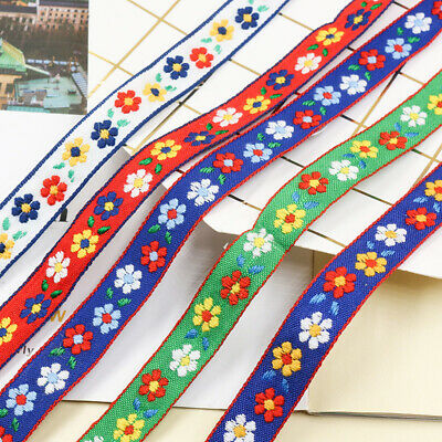 £2.29 • Buy Embroidered Floral Trim Ribbon Edging Upholstery Craft Sewing Retro Ethnic Tape