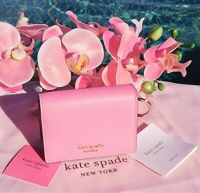$ CDN59.24 • Buy 🌺 NWT Kate Spade  Spencer Mini Key Ring Bifold Leather Wallet Hibiscus Tea New
