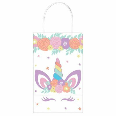 AU15.95 • Buy Party Supplies Birthday Girls Pastel Rainbow Unicorn Party Loot Favor Kraft Bags