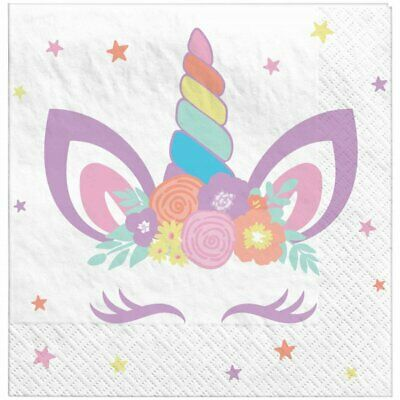 AU6.95 • Buy Party Supplies Birthday Girls Pastel Rainbow Unicorn Party Small Napkins