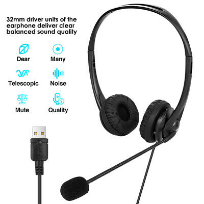 Mic Wired Headphones Headset Office Earphone For Laptop PC Phone Call Center Hot • 12.98£