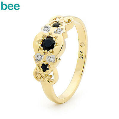 AU299 • Buy Natural Sapphire Diamond 9ct 9k Solid Yellow Gold Ring Size P 7.75 21961/S