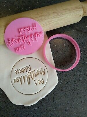 AU12.95 • Buy Happy Mothers Day Cookie Fondant Stamp Embosser And Cutter