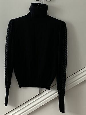 Zara Xl Black Lace Sleeve Roll Neck Jumper • 7.50£