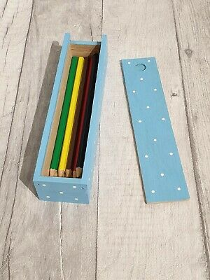 Hand Painted Wooden Polka Dot Pencil Box Including Colour Pencils (BLUE) • 3.90£