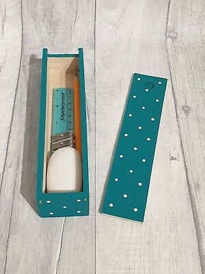 Hand Painted Wooden Polka Dot Pencil Box Including Stationery (CONIFER GREEN) • 3.90£