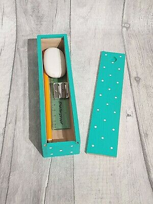 Hand Painted Wooden Polka Dot Pencil Box Including Stationery (TURQUOISE) • 3.90£
