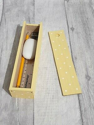 Hand Painted Wooden Polka Dot Pencil Box Including Stationery (YELLOW) • 3.90£