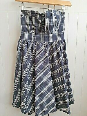 £3.99 • Buy Wal G Navy And White Check Dress Strapless Sweetheart Neck Line Size 8