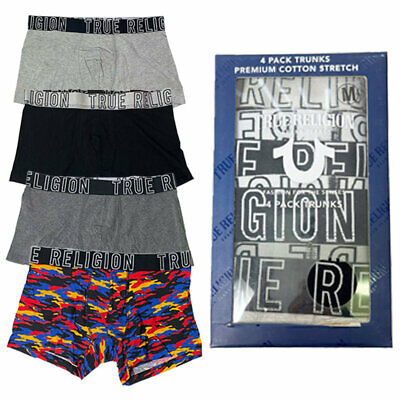 True Religion Mens Boxers Trunks 4x Pack Stretch Cotton Underwear Short Size S M • 21.99£