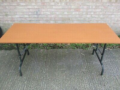 Folding Table, Wooden Top, Metal Legs And Frame, 176cm Long, Car Boot, Picnic • 50£