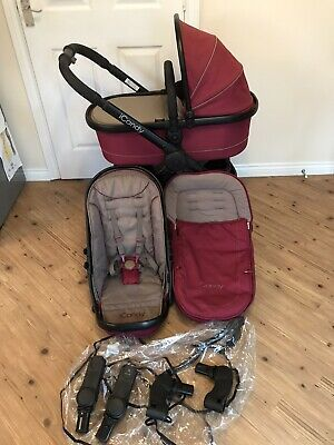 ICANDY PEACH 3 ALL BLACK CLARET  RED Travel System • 199£