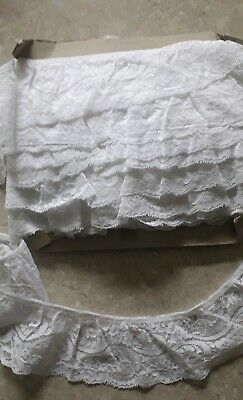 18.5m Gathered Vintage 80s White Lace Roll Card 8cm Wide • 8£