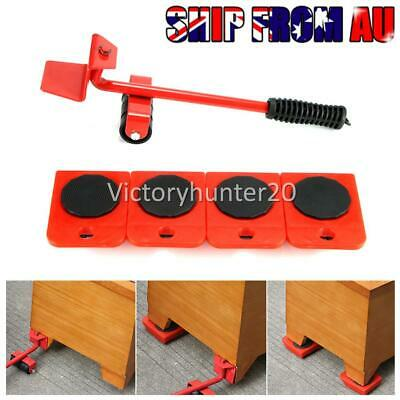 AU16.90 • Buy 5Pcs Heavy Furniture Moving System Lifter Kit With Slider Pad Roller Move Tool