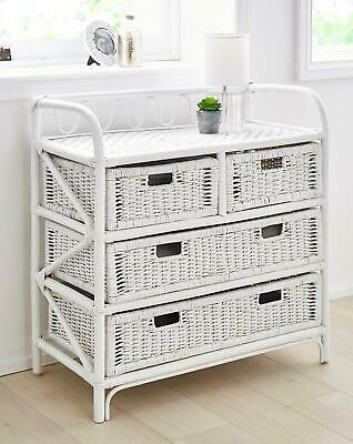 Wicker Drawer Cabinet Chest Maize Furniture Storage Unit Basket Bedroom Hall  • 99.99£