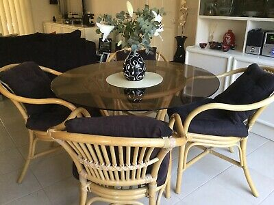 AU200 • Buy  Vintage Cane Bamboo Table & Armchairs Indoors Or Outdoors 5 Piece Dining Sets