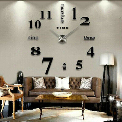 AU11.82 • Buy Luxury DIY Large Number Wall Clock 3D Mirror Sticker Modern Home Office Decor