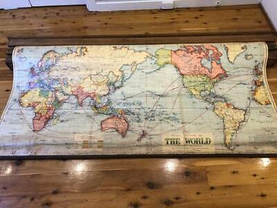 AU400 • Buy Mounted Antique Pull-down Maps In Oak Box