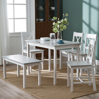 £89.99 • Buy 3 Colours Solid Wooden Dining Table And Chairs Bench Set Kitchen Home Furniture