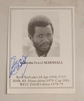 AU65 • Buy Malcolm Marshall Signed Book Plate Pen Picture West Indies Cricket