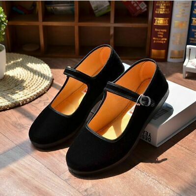 £13.99 • Buy Womens Flat Heels Retro Chinese Old Beijing Shoes Mary Jane Oxfords Velvet Shoes