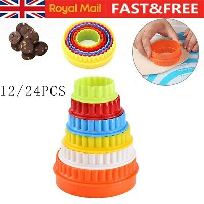 £4.63 • Buy 12/24pcs COOKIE SCONE CUTTERS TWIN EDGE CRINKLE ROUND CAKE PASTRY BAKE MOULD UK