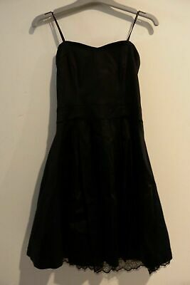 AU9 • Buy FOREVER NEW Thick Black Satin Look Fabric With Lace Bottom Strapless Dress. Sz 8