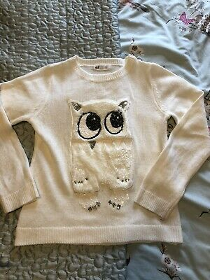 Girls H&M Jumper White Fluffy Owl Sequins Size 8-10 Years • 3£