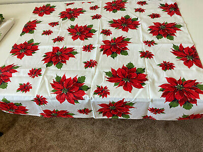 $ CDN6.05 • Buy Christmas TABLECLOTH Vtg Poinsettas 35x35  Small Square