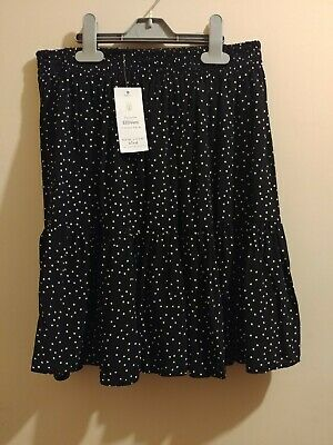 New Look Black And White Polka Dot Mini Tiered Skirt Size 10 NWT • 2.20£